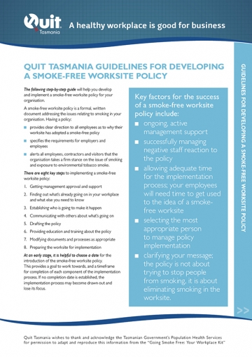 Front cover of the Quit Tasmania Gudielines document: A healthy workplace is good for business.